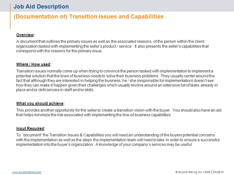 Exercise: Identify Transition Issues and Capabilities