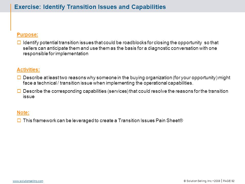 Transition Issues & Capabilities Worksheet