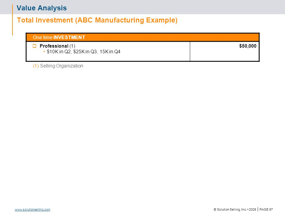 Value Analysis ABC Manufacturing Example
