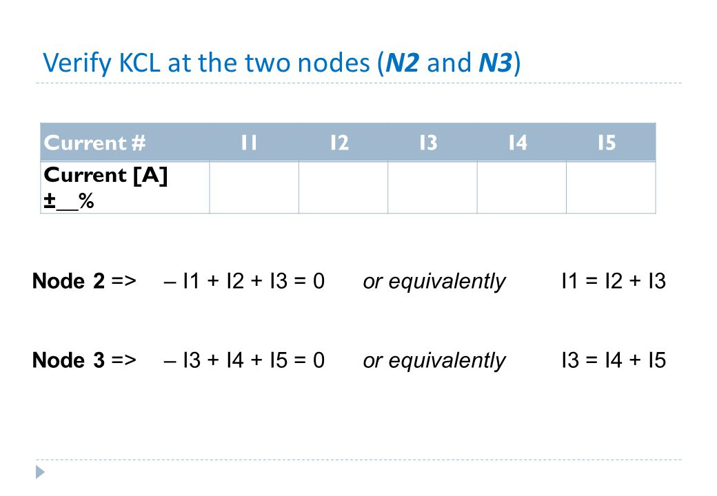 Verify KCL at the two nodes (N2 and N3)