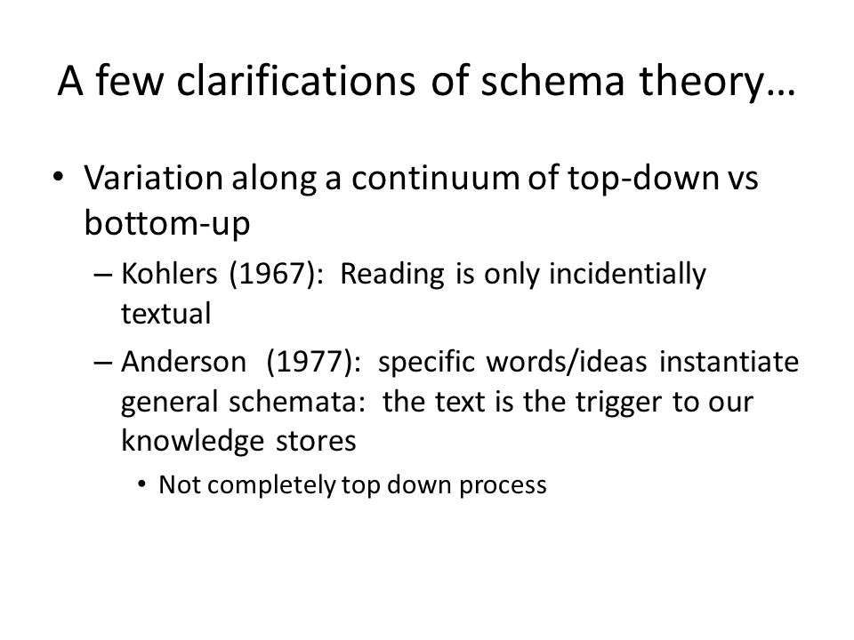 A few clarifications of schema theory…