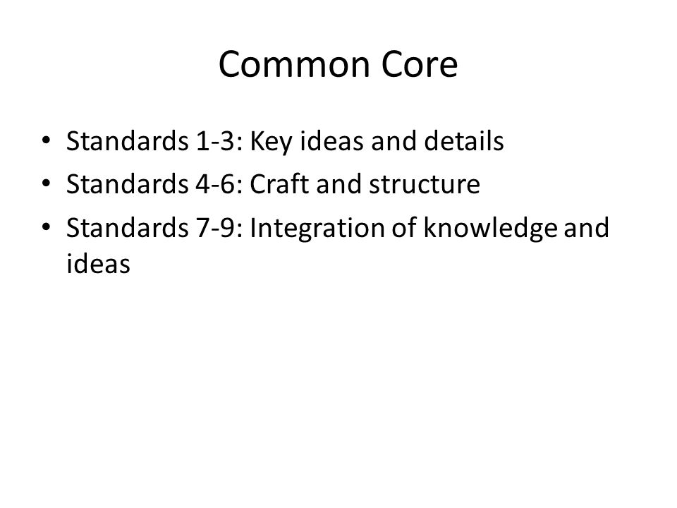 Common Core Standards 1-3: Key ideas and details