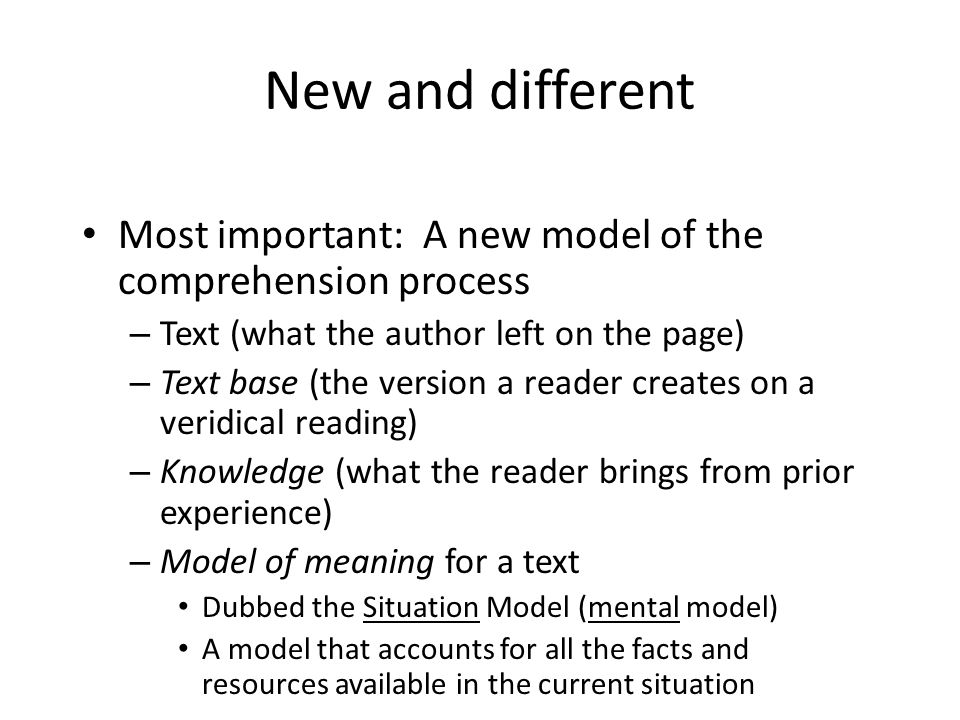 New and different Most important: A new model of the comprehension process. Text (what the author left on the page)