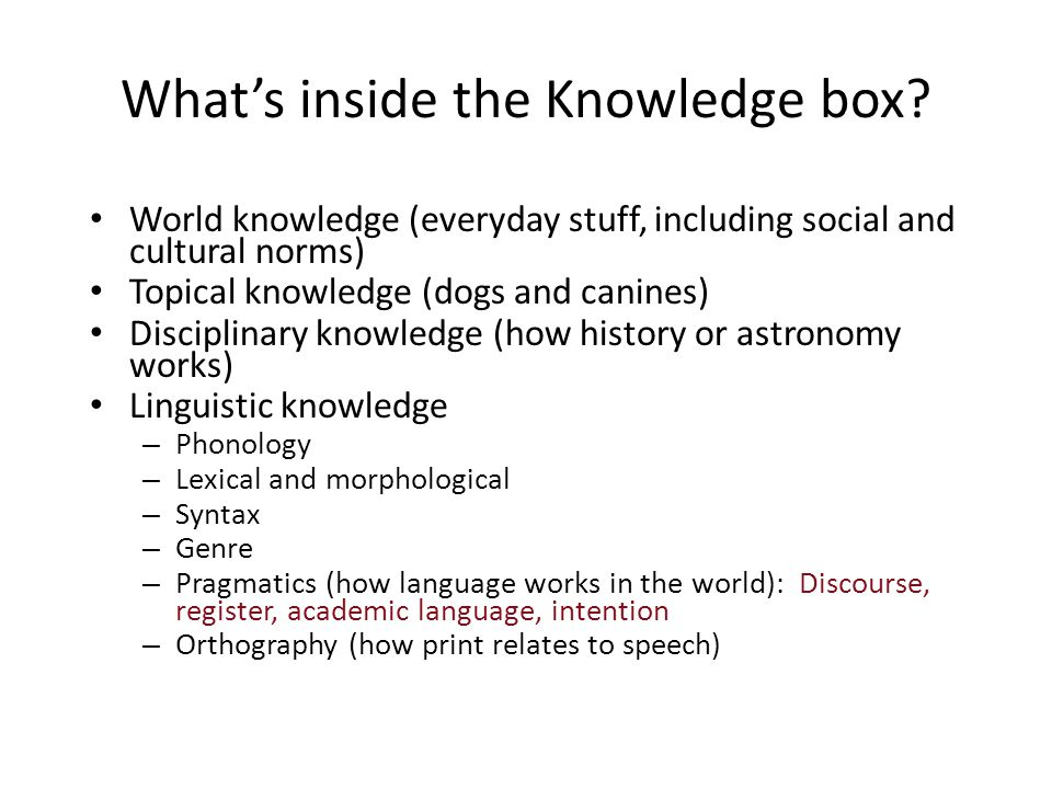 What's inside the Knowledge box
