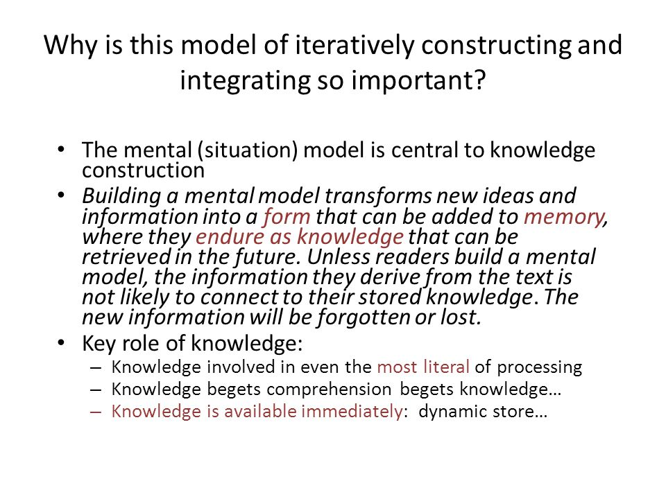 Why is this model of iteratively constructing and integrating so important
