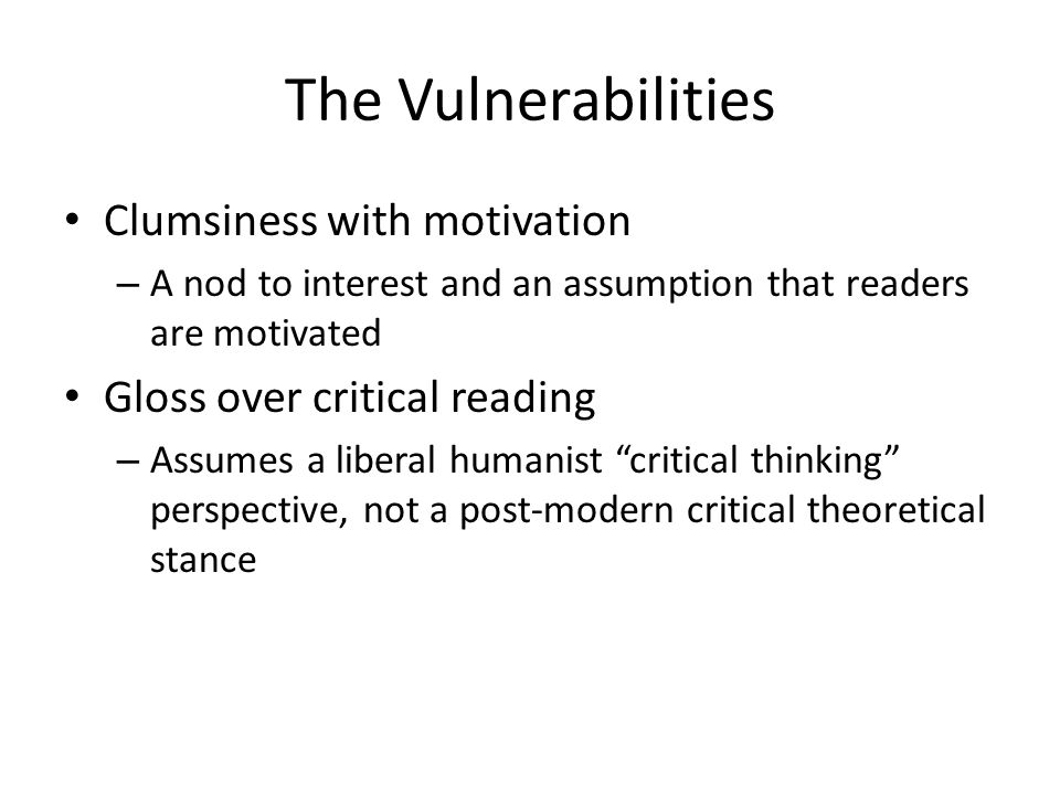 The Vulnerabilities Clumsiness with motivation