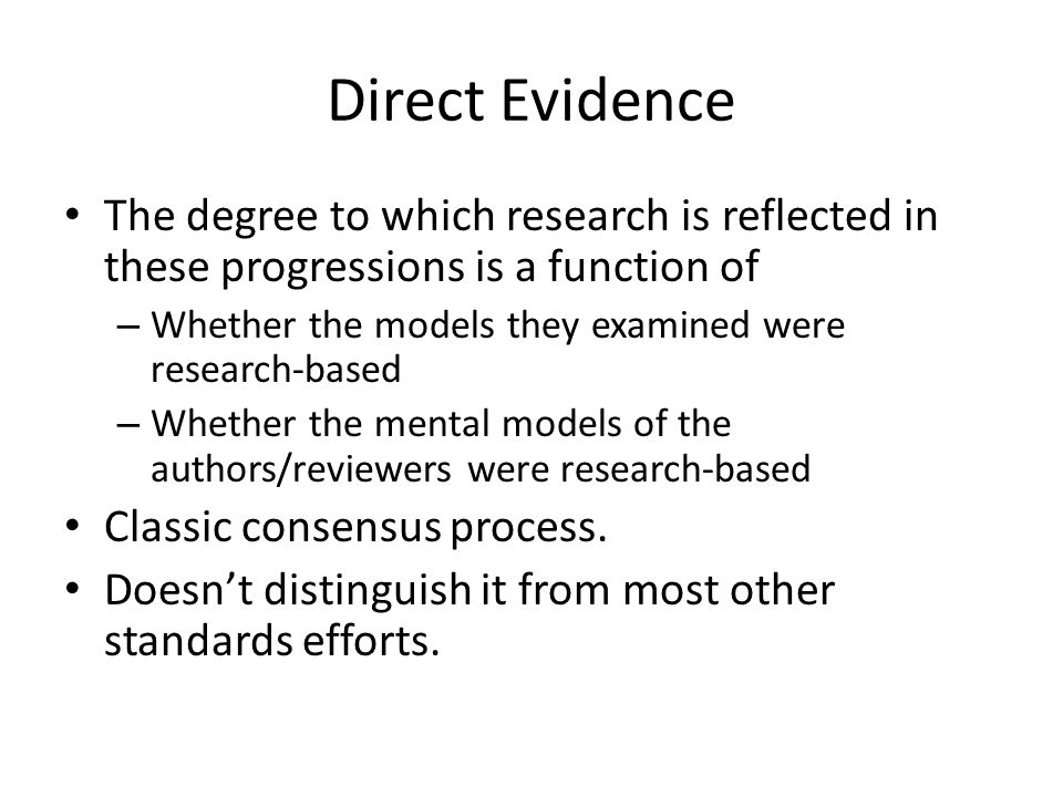 Direct Evidence The degree to which research is reflected in these progressions is a function of.