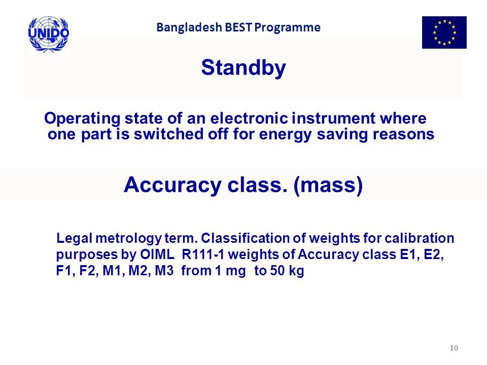 Standby Accuracy class. (mass)