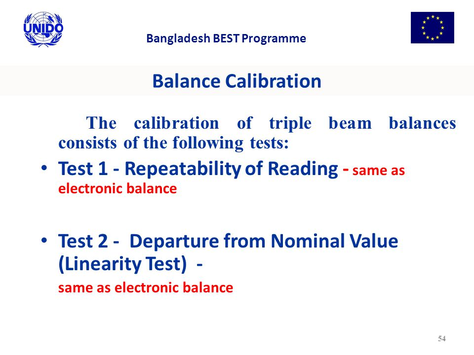 Test 1 - Repeatability of Reading - same as electronic balance