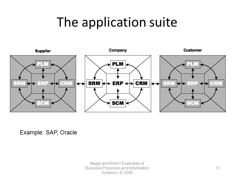 The application suite Example: SAP, Oracle