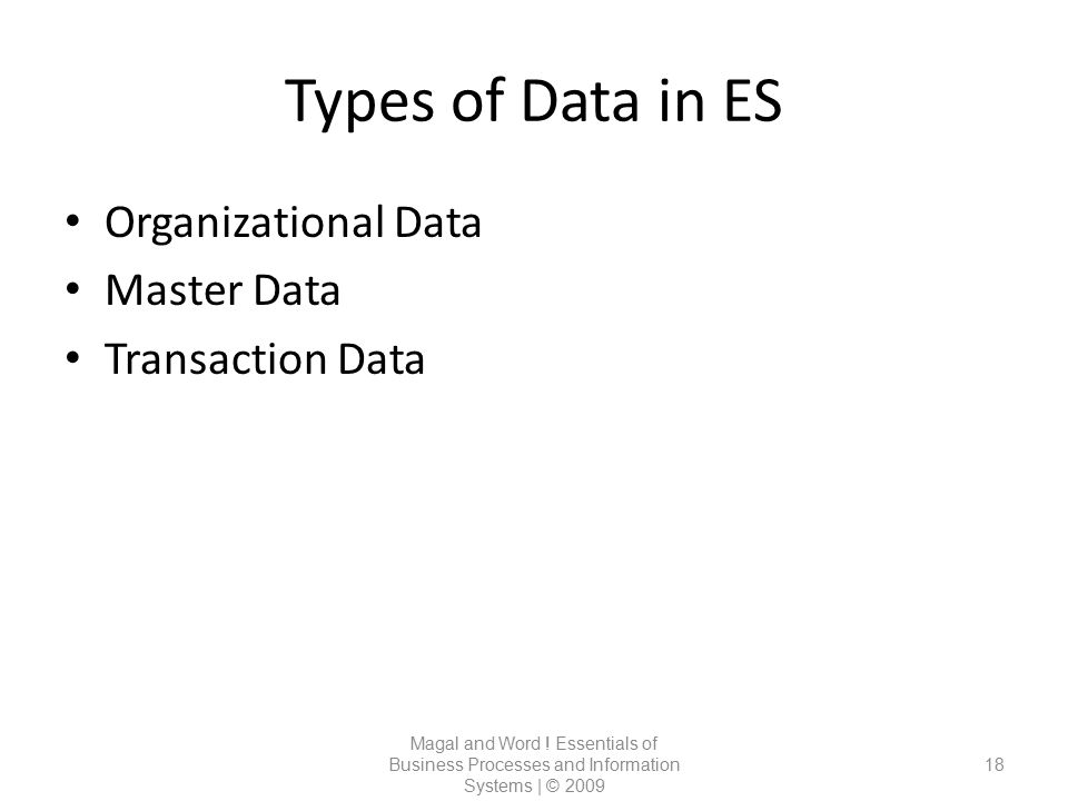 Types of Data in ES Organizational Data Master Data Transaction Data