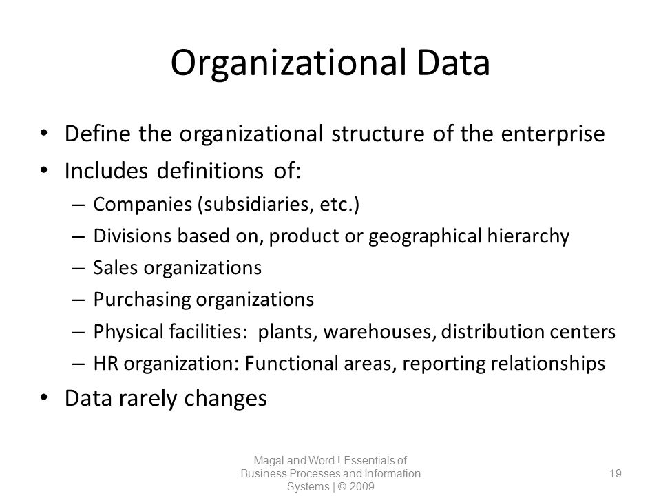 Organizational Data Define the organizational structure of the enterprise. Includes definitions of: