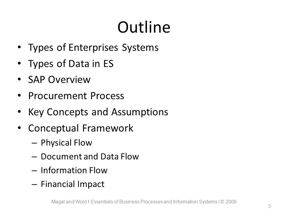 Outline Types of Enterprises Systems Types of Data in ES SAP Overview