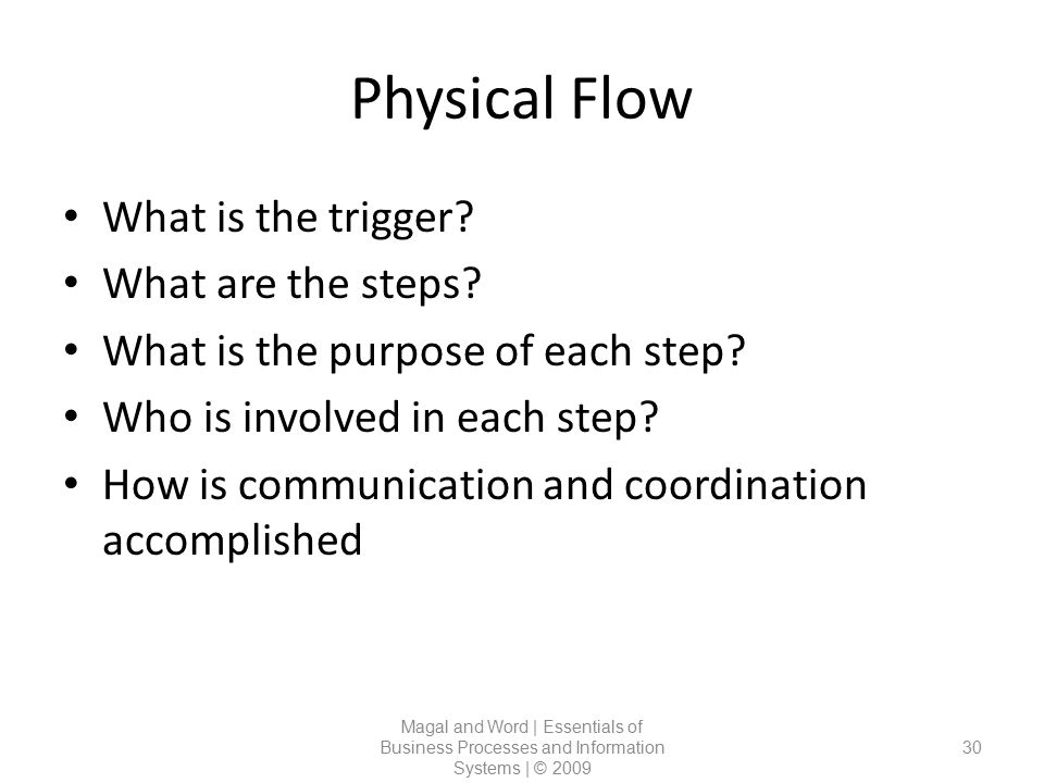 Physical Flow What is the trigger What are the steps