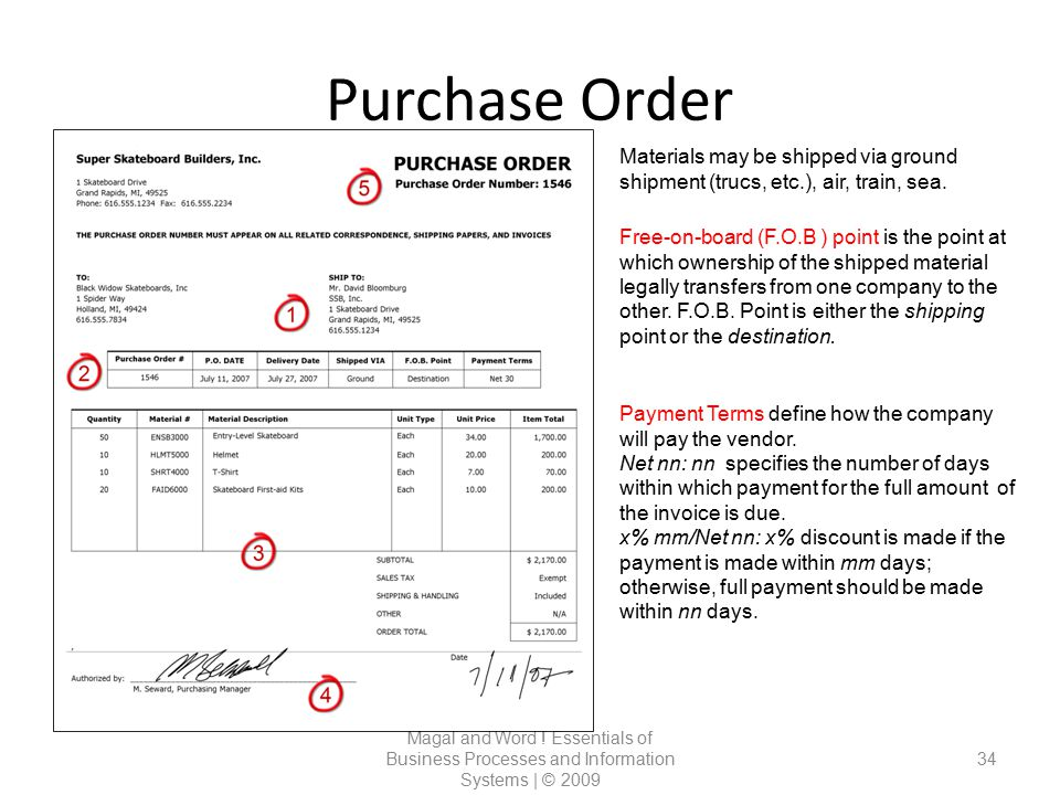 Purchase Order Materials may be shipped via ground shipment (trucs, etc.), air, train, sea.