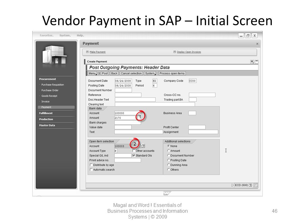 Vendor Payment in SAP – Initial Screen