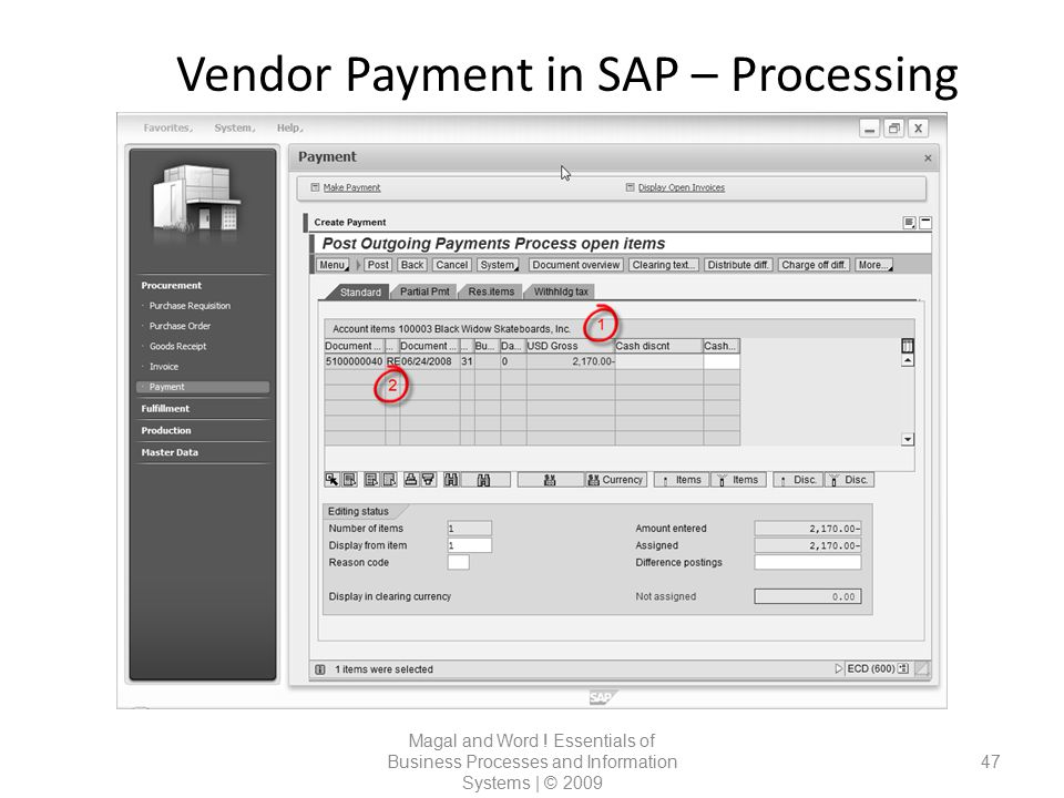 Vendor Payment in SAP – Processing