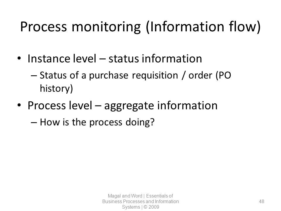 Process monitoring (Information flow)