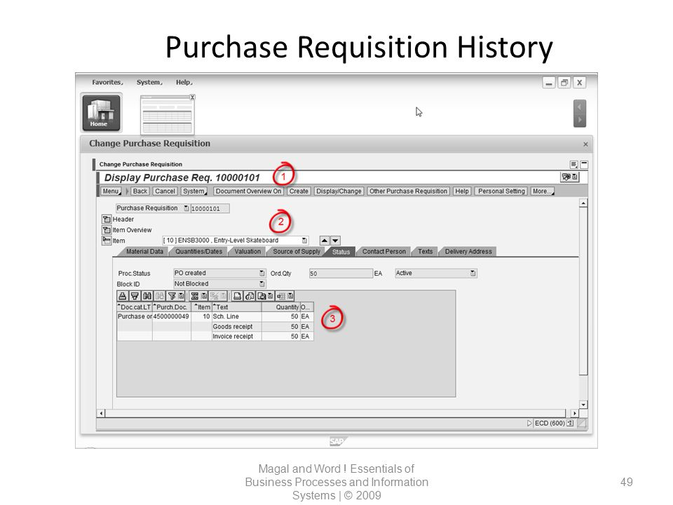 Purchase Requisition History