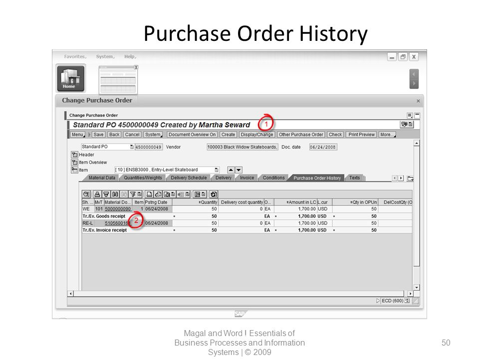 Purchase Order History