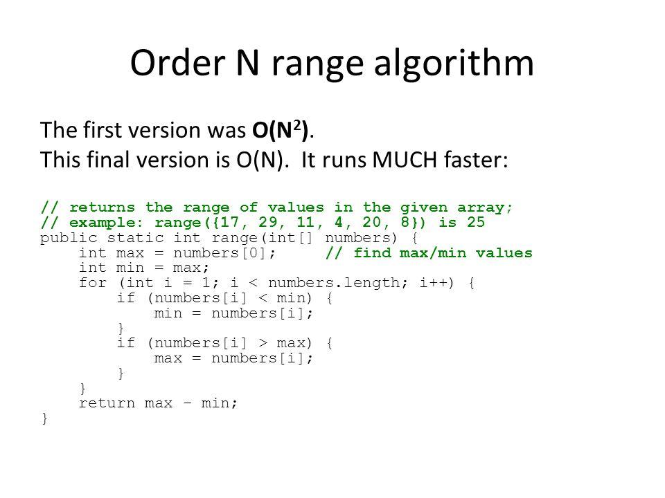 Order N range algorithm