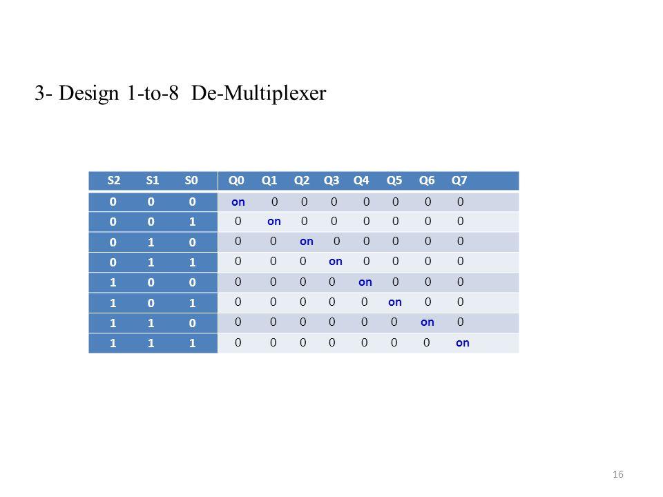 3- Design 1-to-8 De-Multiplexer