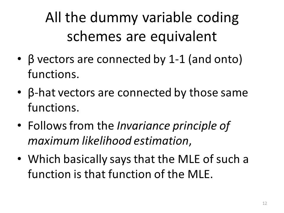 All the dummy variable coding schemes are equivalent