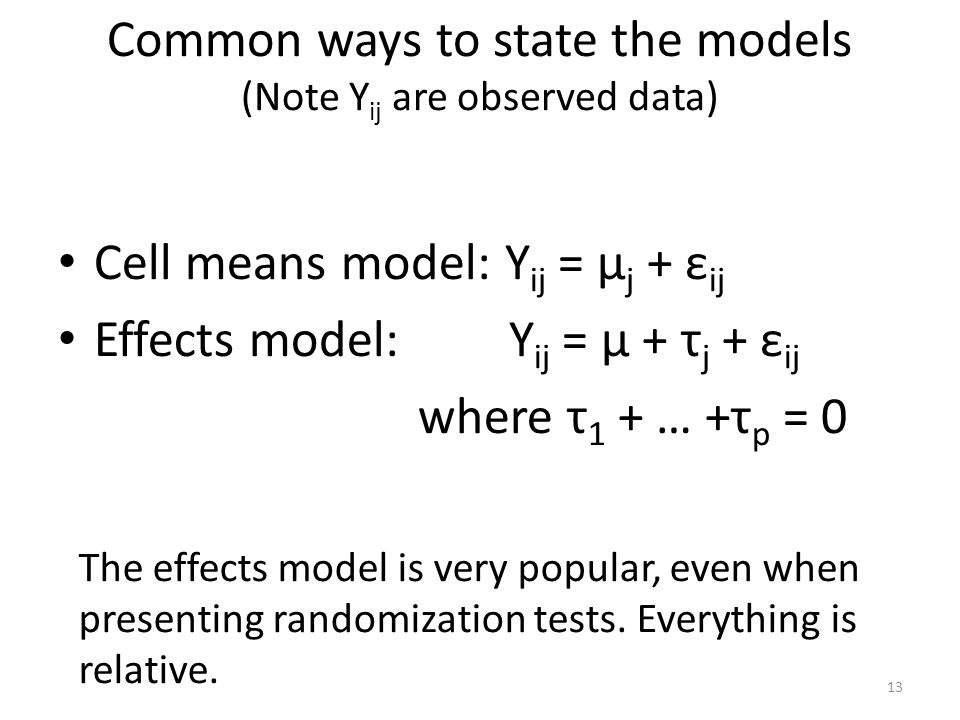 Common ways to state the models (Note Yij are observed data)