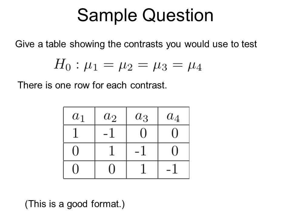 Sample Question Give a table showing the contrasts you would use to test. There is one row for each contrast.
