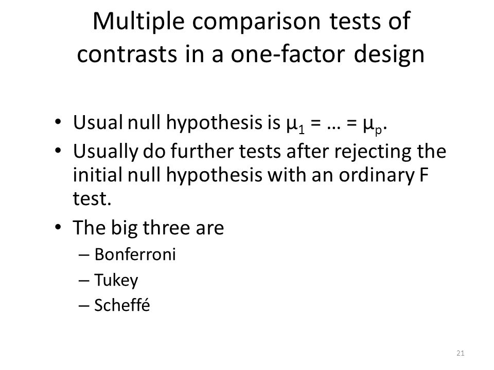 Multiple comparison tests of contrasts in a one-factor design