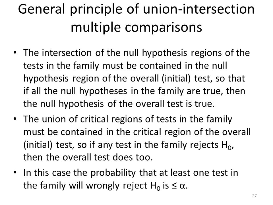 General principle of union-intersection multiple comparisons