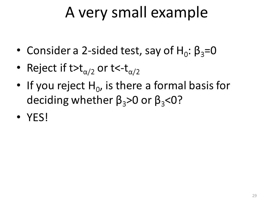 A very small example Consider a 2-sided test, say of H0: β3=0