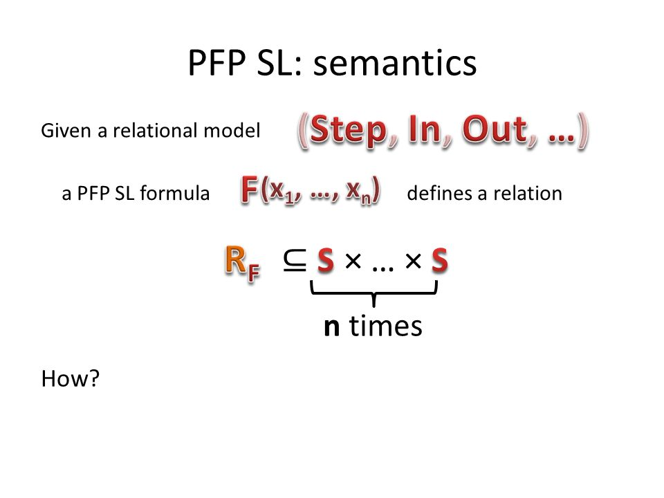 PFP SL: semantics (Step, In, Out, …) F RF ⊆ S × … × S n times
