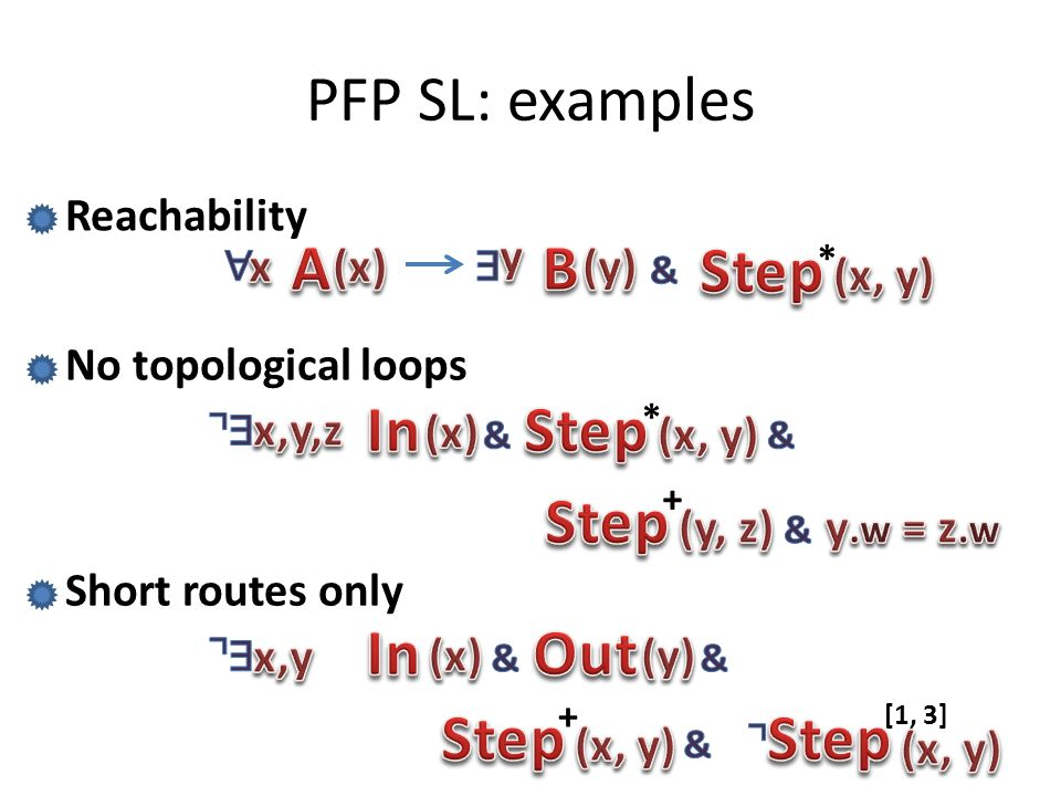 PFP SL: examples A B Step In Step Step In Out Step Step Reachability y