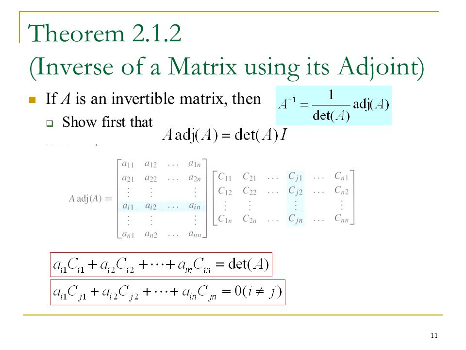 Theorem 2.1.2 (Inverse of a Matrix using its Adjoint)
