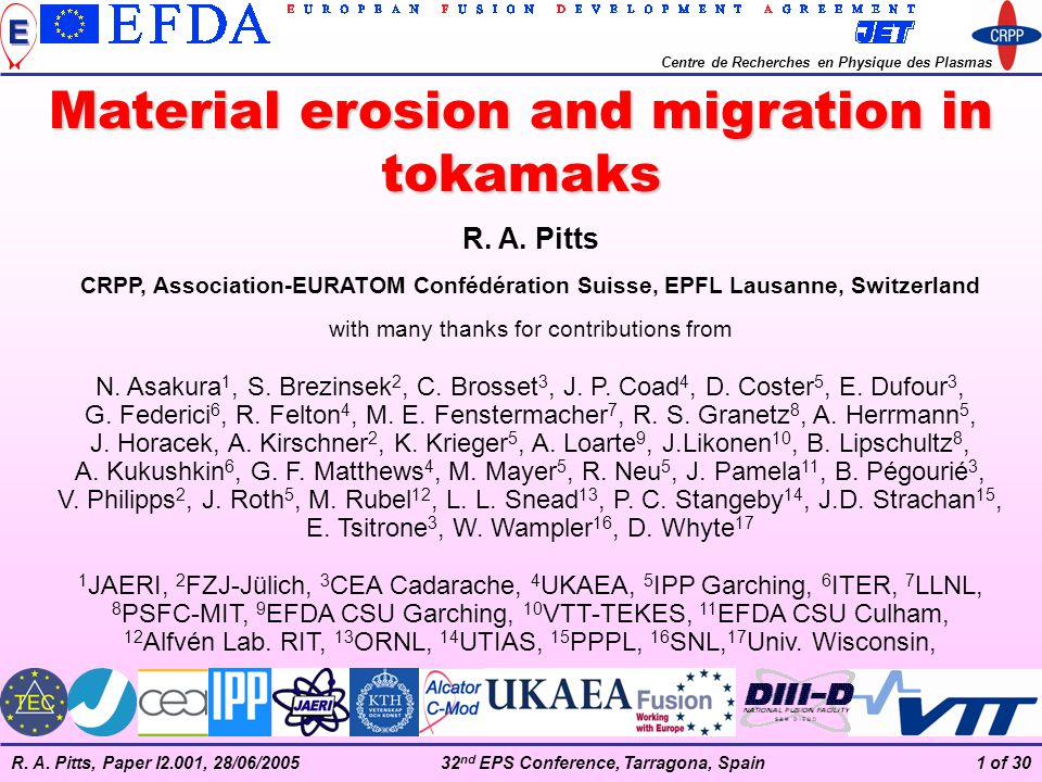 Material erosion and migration in tokamaks