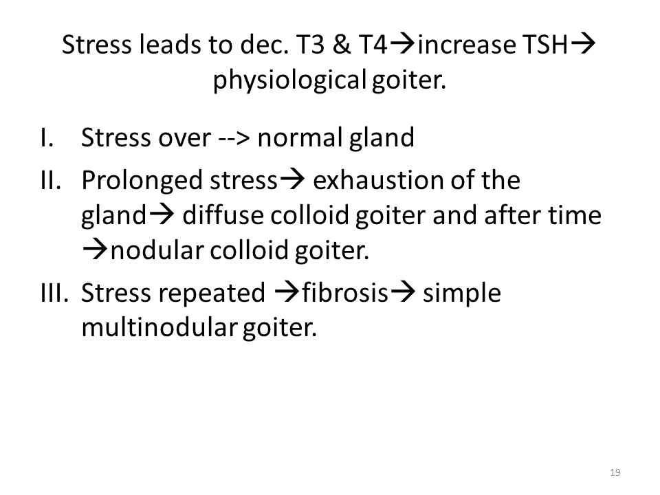 Stress leads to dec. T3 & T4increase TSH physiological goiter.