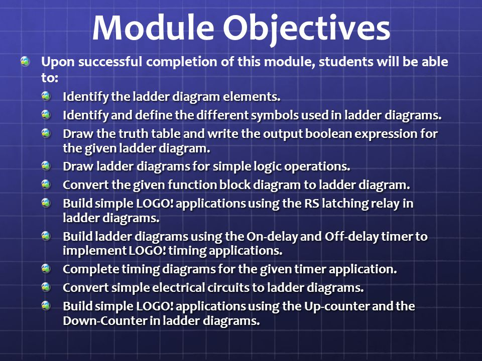 Module Objectives Upon successful completion of this module, students will be able to: Identify the ladder diagram elements.