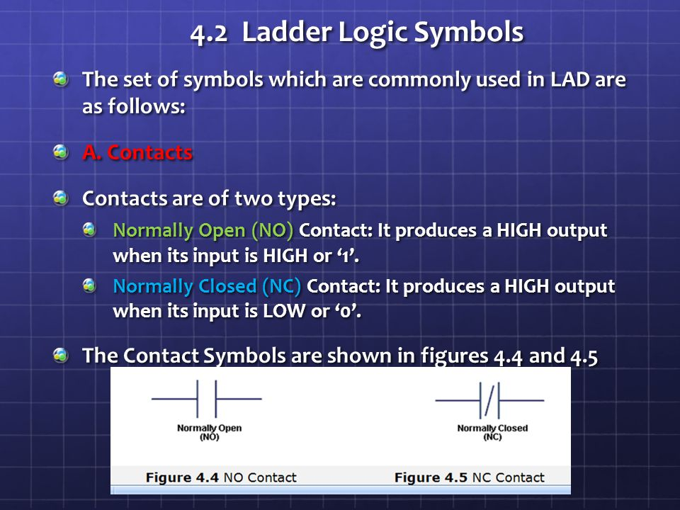 4.2 Ladder Logic Symbols The set of symbols which are commonly used in LAD are as follows: A. Contacts.