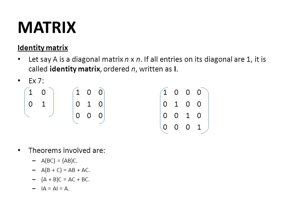 MATRIX Identity matrix