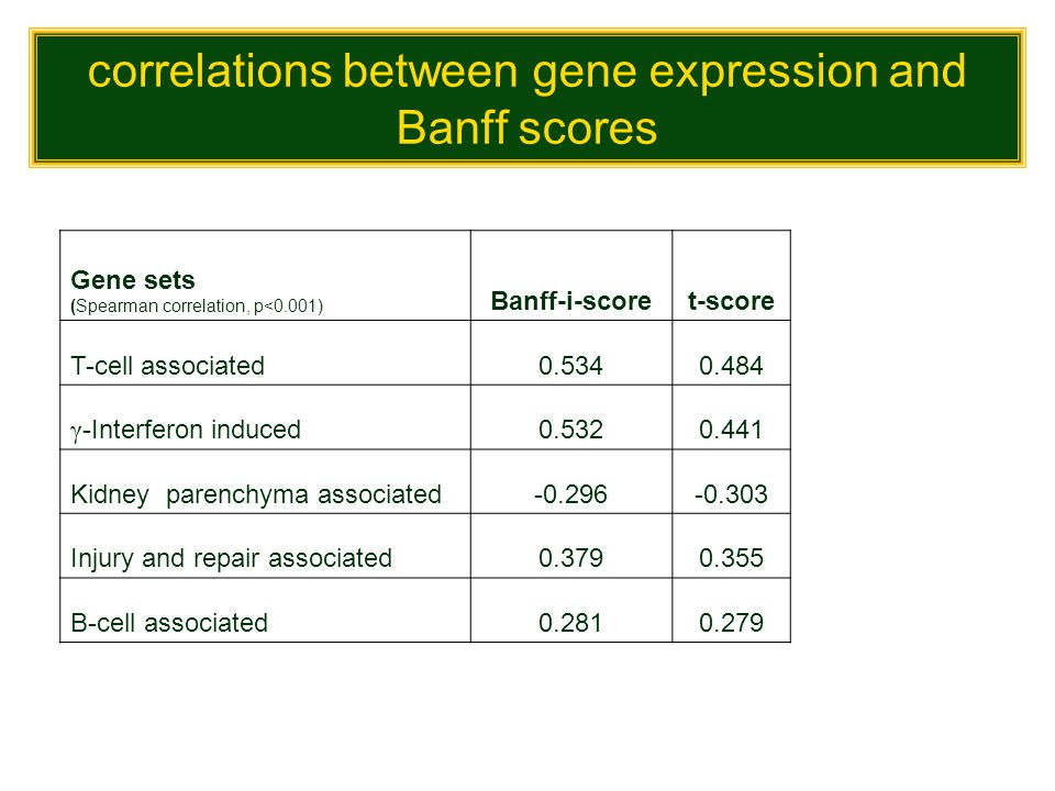 correlations between gene expression and Banff scores