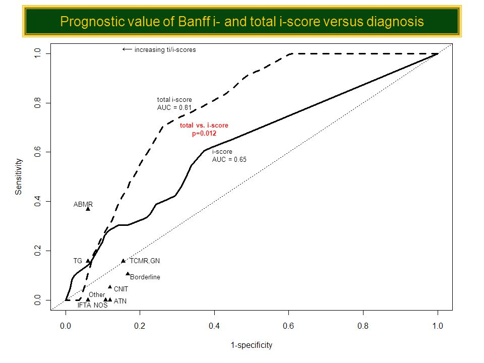 Prognostic value of Banff i- and total i-score versus diagnosis