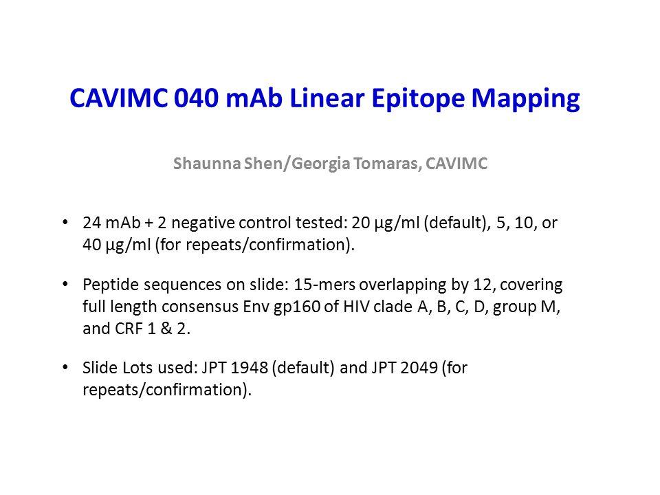 CAVIMC 040 mAb Linear Epitope Mapping