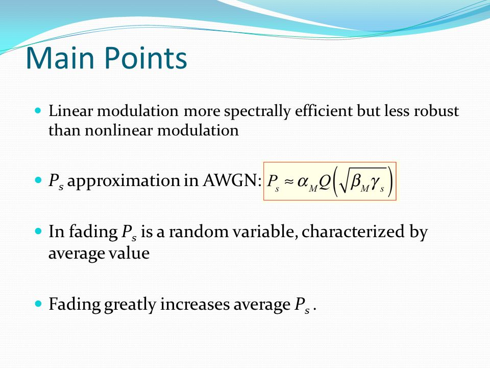 Main Points Ps approximation in AWGN: