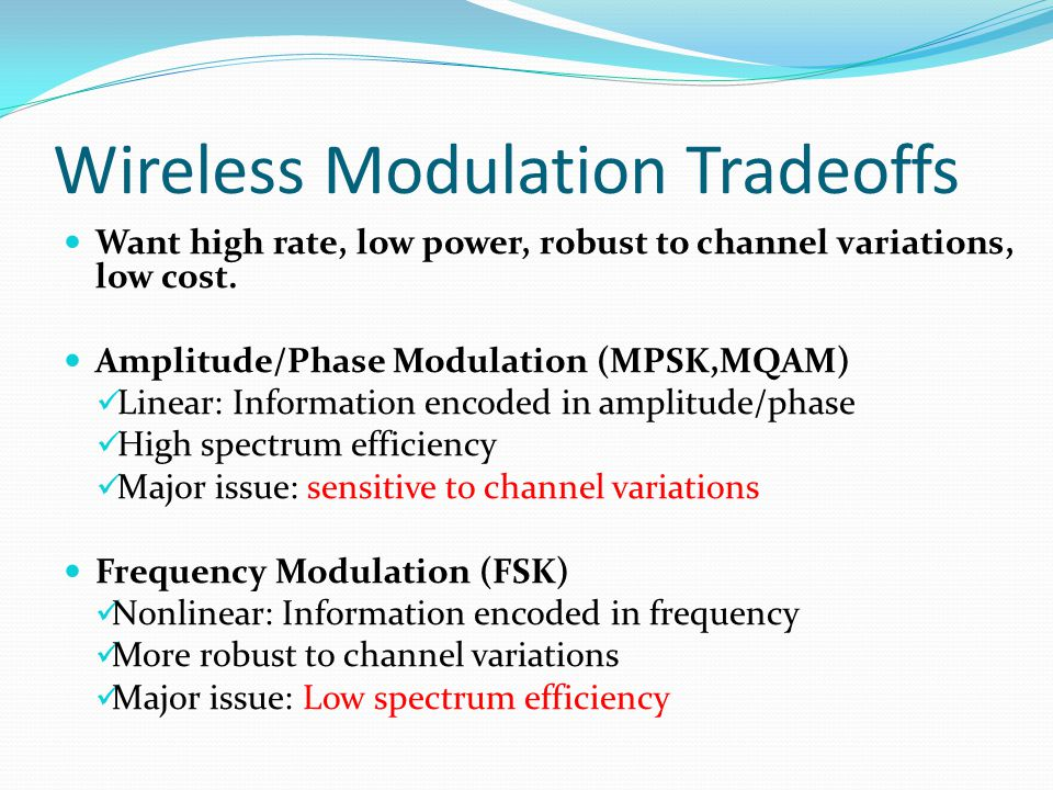 Wireless Modulation Tradeoffs