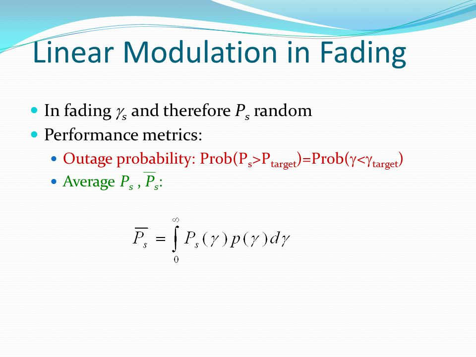 Linear Modulation in Fading