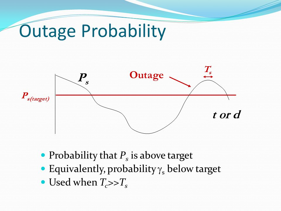 Outage Probability Ps t or d Outage