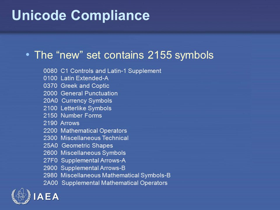 Unicode Compliance The new set contains 2155 symbols