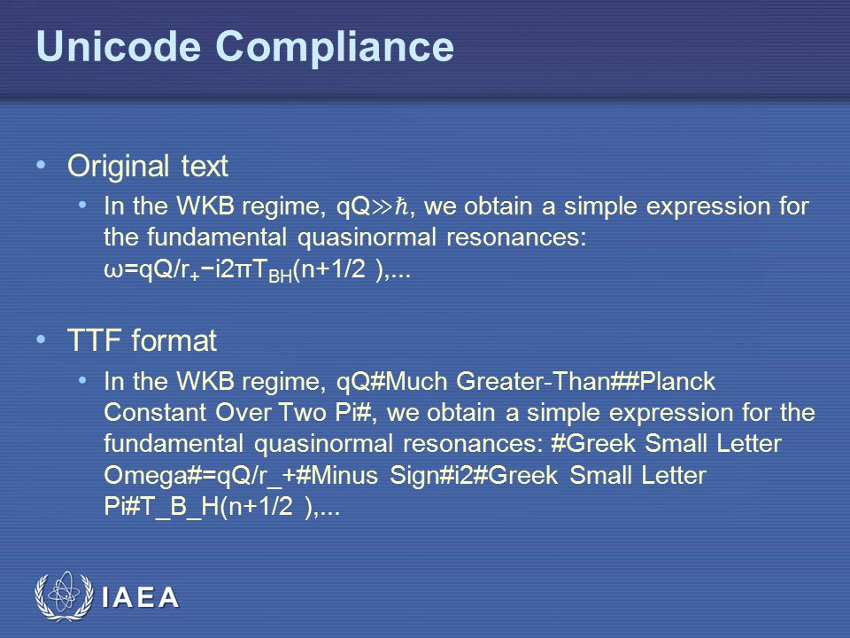 Unicode Compliance Original text TTF format