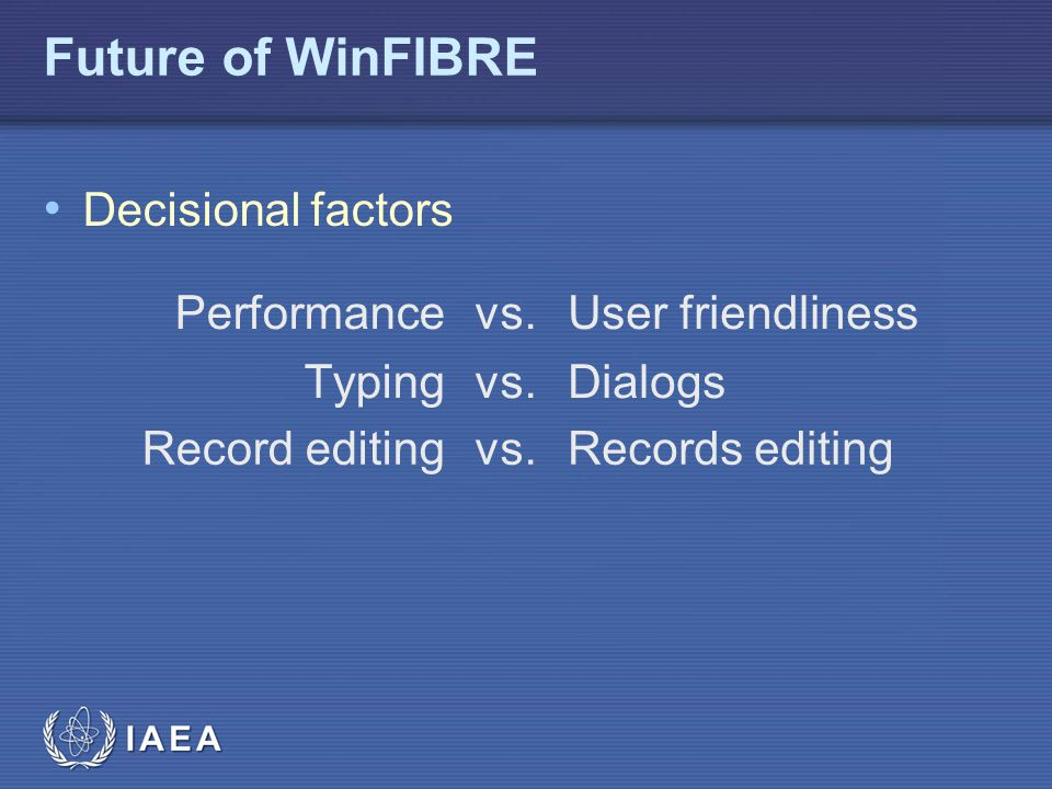 Future of WinFIBRE Decisional factors Performance vs.